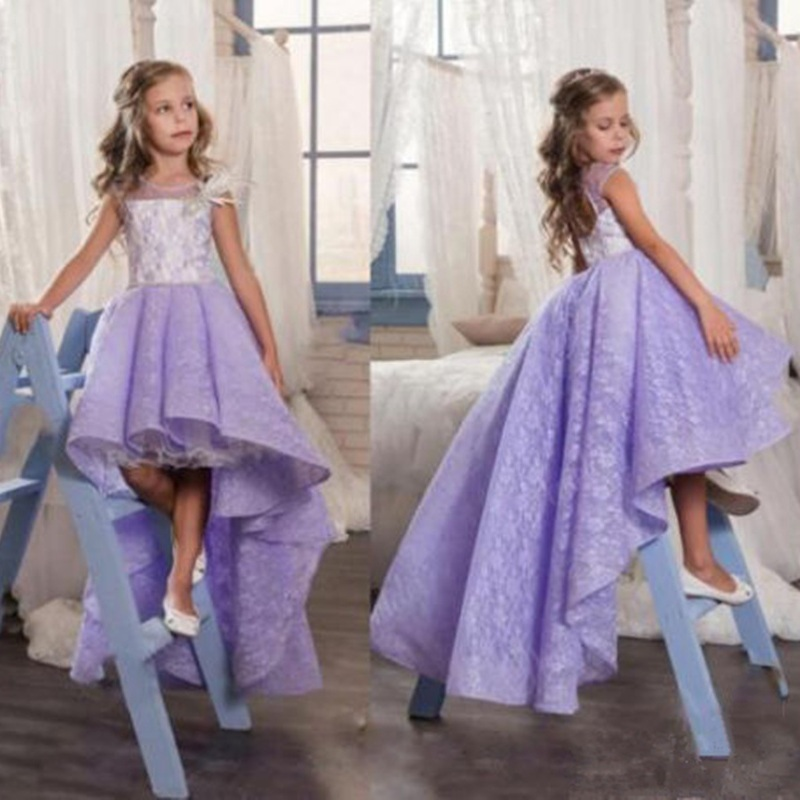 Vintage Hi-Lo Flower Girl Dresses For Wedding First Communion Dress For Girls Jewel Lace Appliques Tulle Kids Dresses For Girls