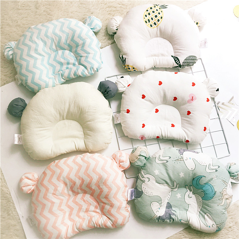 0-1 Years Old Baby Shaping Pillow Breathable Cotton Cute Bear Head Type Correction Pillow Newborn Kids Room Decoration