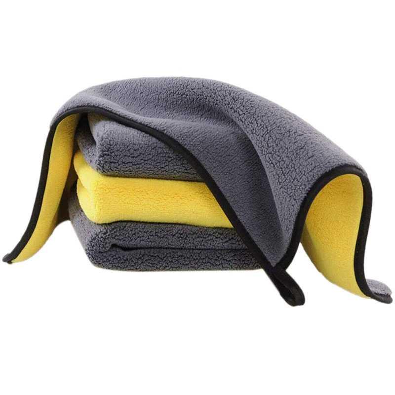 4 Pack Premium Ultraหนาผ้าขนหนูไมโครไฟเบอร์,Professional Double Layer Superผ้าทำความสะอาดผ้าไมโครไฟเบอร์สำหรับล้างรถ