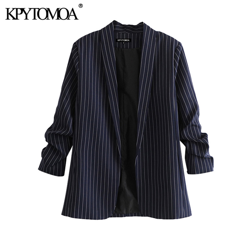 KPYTOMOA Women 2020 Fashion Office Wear Striped Blazer Coat Vintage Three Quarter Sleeve Pockets Female Outerwear Chic Tops