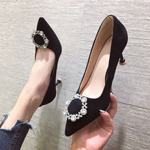 2019 Crystal Sexy Flock High Heels Ladies Pumps Rhinestone Dress Women Shoes Heels Stiletto Valentine Pointed Toe Shoes Mujer qianruiti zapatos mujer women wedding shoes glitter studded crystal high heels shoes sexy pointed toe stiletto heels women pumps