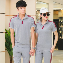 Women Men Sportswear Tracksuit Summer Lover Casual Jogger Running Outfit Set Stripe Print Shirt Sweatshirt+sweatpant Sport Suit цены
