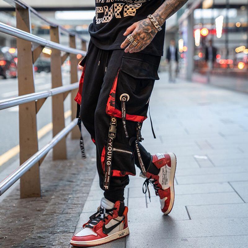 Letter Ribbons Casual Hip Hop Joggers Cargo Pants For Men Block Pocket Black Track Pants Male Trousers Sweatpants Streetwear