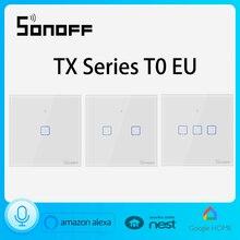 Sonoff T0 Eu 123C Smart Lichtschakelaar Wifi Wandschakelaar Wifi/App Remote 86, compatibel Met Alexa En Google Thuis Voice Controle
