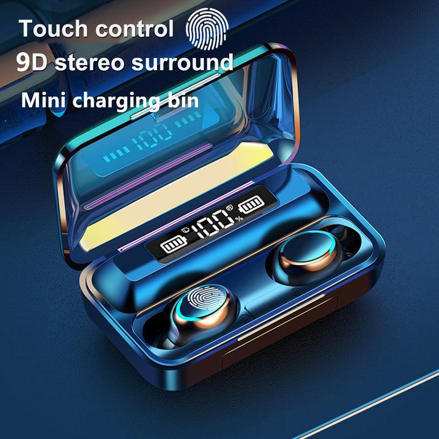TWS-стереонаушники F9 с поддержкой Bluetooth 5,0 и зарядным футляром на 2000 мА · ч