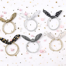 Cute band hair accessories girl children Single Sequin Rabbit Ears Rubber Band Baby Girl Hair Accessories New Design Korean(China)