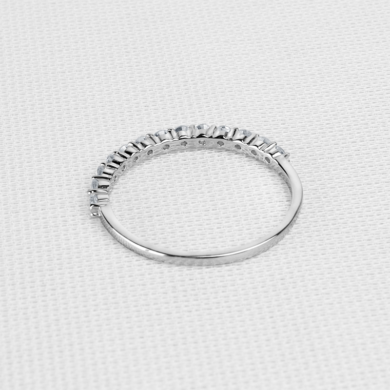 AINUOSHI Exquisite 14K Solid Yellow/White Gold Half Eternity Band Ring Simulated Diamond Anillo Women Wedding Matching Band Ring