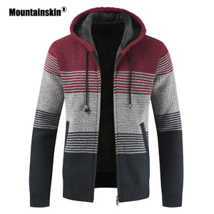 Mountainskin Men's Sweater Coat 2020 Spring Autumn Mens Hooded Stripe Coat Thick Zipper Wool Sweater Cardigan Jumpers Male SA868