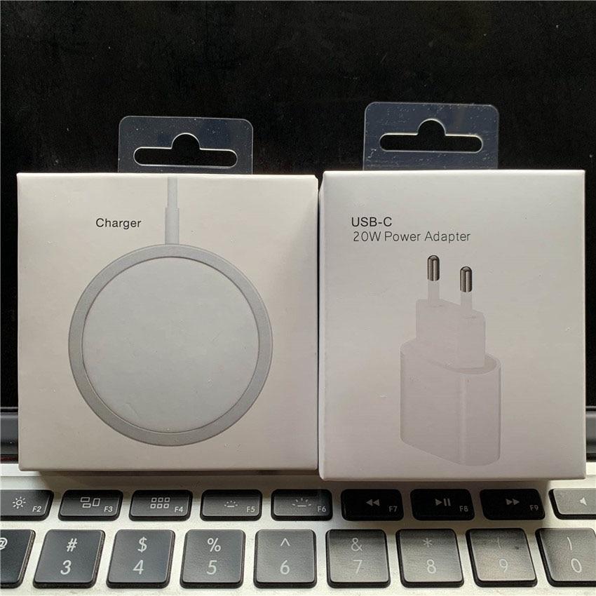 Orignal 15 Вт магнитное Беспроводное зарядное устройство для iPhone 12 Pro Max 12 Mini быстрое зарядное устройство с европейской вилкой 20 Вт QI зарядка 11 XS XR