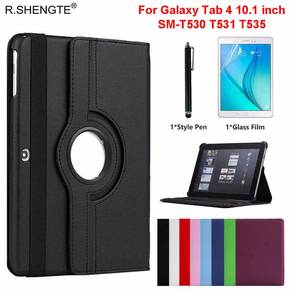 360 Roterende Case Voor Samsung Galaxy Tab 4 10.1 Tablet SM-T530/T531/T535 10.1 ''Case Folio Leather stand Cover Met Pen + Film