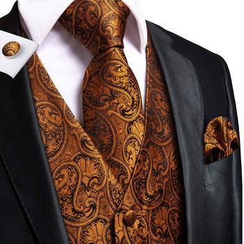 Hi-Tie męska klasyczna kamizelka kamizelka dla mężczyzn 4PC Hanky + spinki do mankietów + krawat luksusowy Paisley czerwony turkusowo-złota kamizelka garnitur zestaw kamizelek jedwab tanie i dobre opinie Wyjściowe Wiosna i jesień CN (pochodzenie) SILK Daily Z popeliny MS-0014 Kamizelki Men s Waistcoat Vest Set for suit Red Blue Sliver Brown Pink Yellow Gold Golden Vest