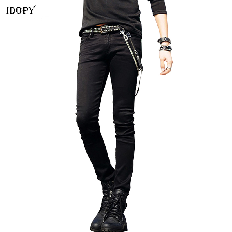 Idopy Hot Selling Mens Korean Designer Jeans Slim Fit Street Punk Cool Super Skinny Pants With Chain And Leather Belt For Male