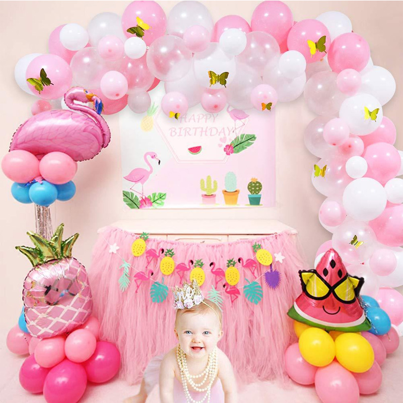 100pcs White Pink Balloon Garland Arch Kit With Butterfly Baby Shower Birthday Party Wedding Anniversary Celebration Decorations