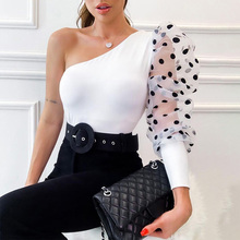 Summer One-shoulder Top Polka Dot T-shirt Women Printed Puff Sleeve Shirt Solid Color Casual Sexy Slant Collar Slim Top