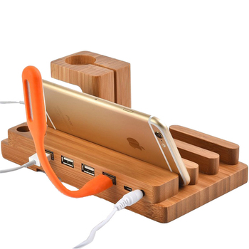 3 in 1 4 USB Charging Dock Station Universal Wood Mobile Phone Mount Holder for Apple Watch iPhone XR XS Max X 8 7 6S Plus iPad