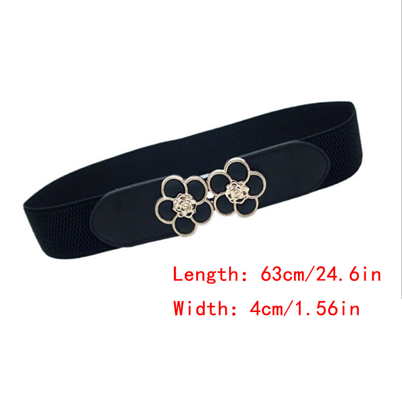Women Elastic Belt  Black Waistband Wide Elegant Flower Buckle Cummerbunds For Women Dress Cinto Wedding Cummerbunds Coat Lady