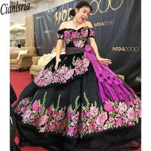 Estampado Floral encaje negro dulce 16 vestidos de hombro mangas cortas fajas espalda abierta vestido para quinceañeras vestidos de baile moda de fiesta