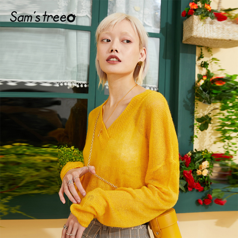 Samstree Yellow Solid Minimalist Style Pullover Hollow Out Knitted Sweater Women 2019 Autumn Korean Oversized Office Ladies Tops