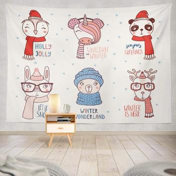 Decorative Wall Tapestry Drawn Cute Funny Animals Hats Glasses with Winter Snow