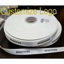 Muitos de largura personalizada seu logotipo faça você mesmo fita de cetim poliéster fonte plana casamento e embalagem personalizada rolo de rolo