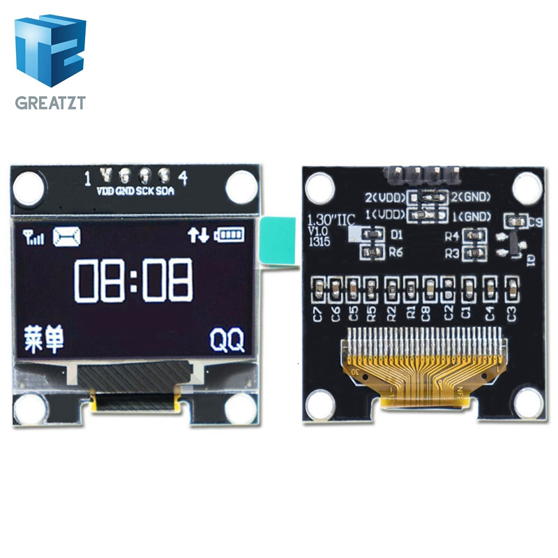 1.3 Inch Oled IIC Serial White OLED Display Module 128X64 I2C SSD1306 12864 LCD Screen Board VDD GND SCK SDA For Arduino Black