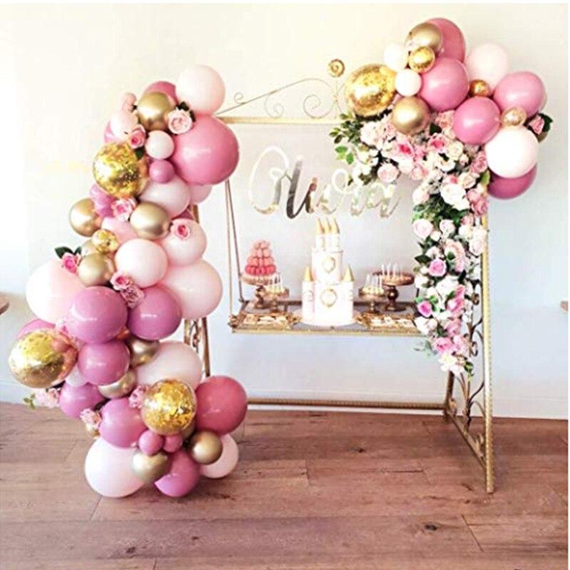 Kit de arco de guirnalda de globos para niña y niño, decoración de baño de bebé, globos Rosas y dorados para fiestas, cumpleaños, boda, 101 Uds.