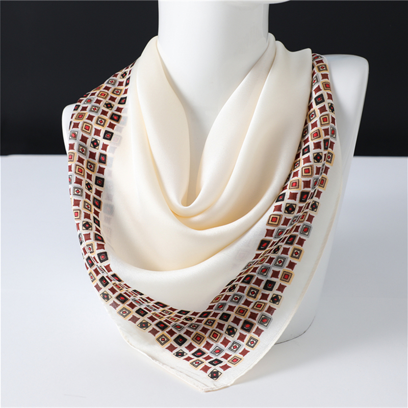 Luxury Print Office Neck Scarf For Women Silk Square Shawls Lady Wraps Solid Foulard Small Pashmina Bandana Hair Band