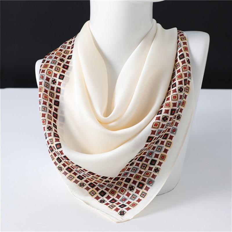 Luxury Print Office Neck Scarf For Women Silk Square Shawls Lady Wraps Solid Foulard Small Pashmina Bandana Hair Band