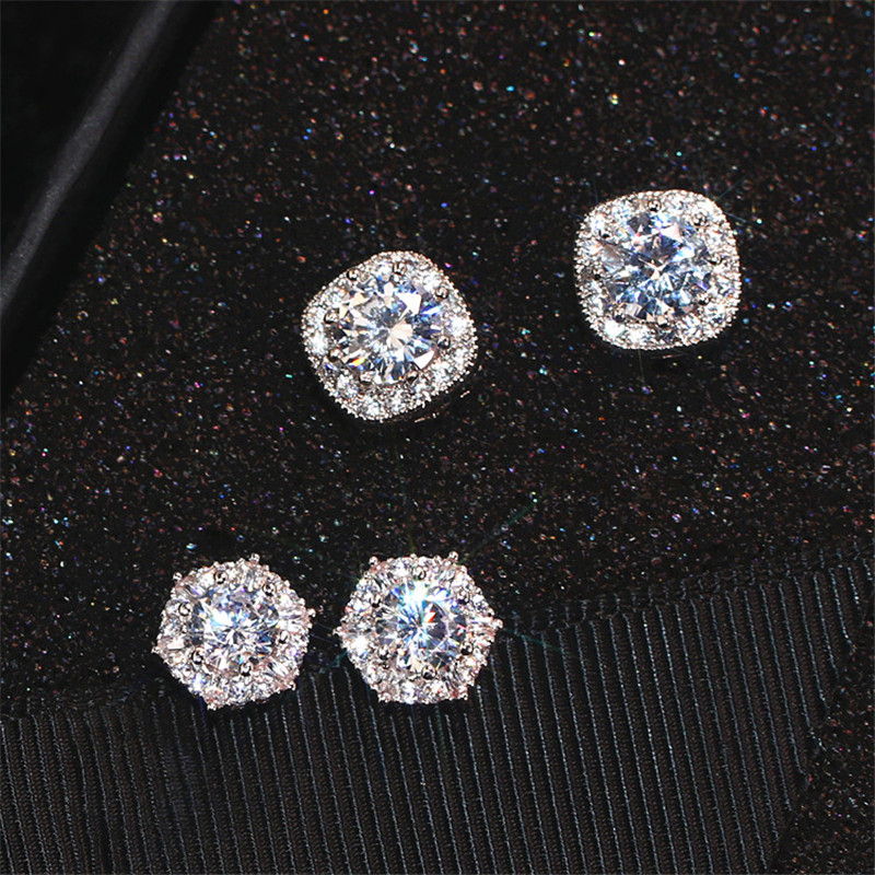 Girls Cute Austrian Crystal Hexagon Round Square Stud Earrings For Women White Gold White Zircon Stone Wedding Ear Studs Jewelry