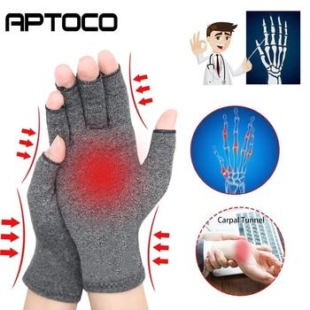 1 para rękawice kompresyjne zapalenie stawów Premium artretic ból stawów rękawiczki Relief terapia otwarte palce rękawice kompresyjne tanie i dobre opinie Aptoco Dla osób dorosłych CN (pochodzenie) Cotton + Spandex Therapy Gloves Men Women