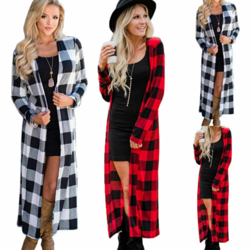 2020 auutmn女性の新ファッションロング長さのコートジャケット長袖トップカジュアルなチェック柄カーディガン生き抜く春秋赤、黒