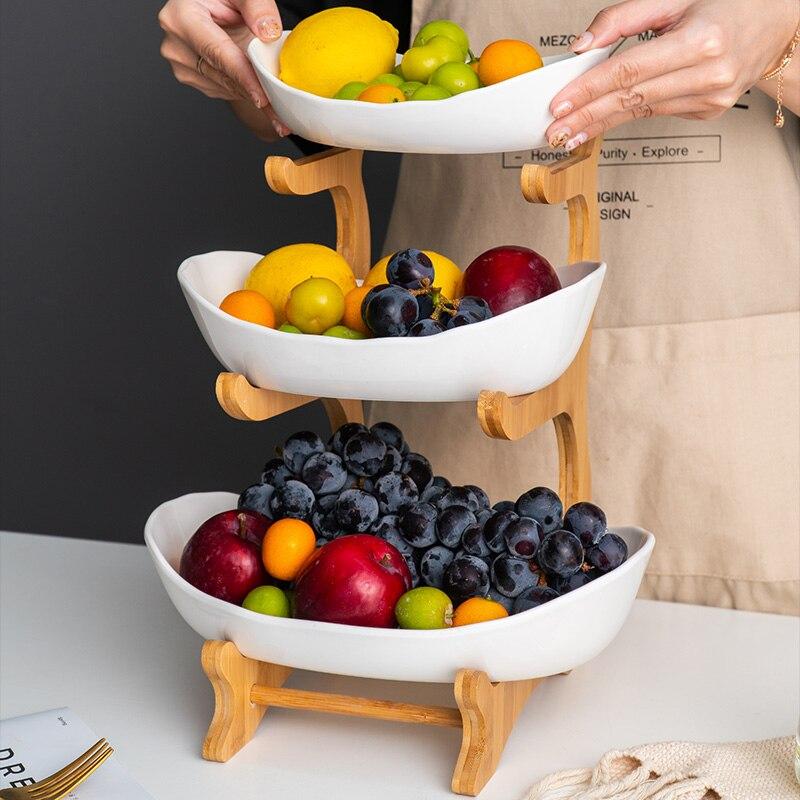 Домашняя трехуровневая тарелка для фруктов в гостиную, пластиковая тарелка для закусок, креативная Современная корзина для сушеных фруктов, пластиковое блюдо, тарелка для конфет-1