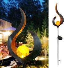 ソーラー led 炎光防水 IP55 レトロ鉄庭の芝生ランプ屋外ガーデンの風景装飾照明日月角炎