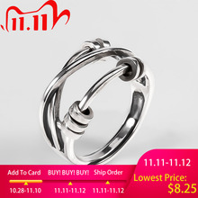 Ckysee Unique Simple 925 Sterling Silver Adjustable Rings Braided Band Multi layers Finger Ring 925 Silver Jewelry