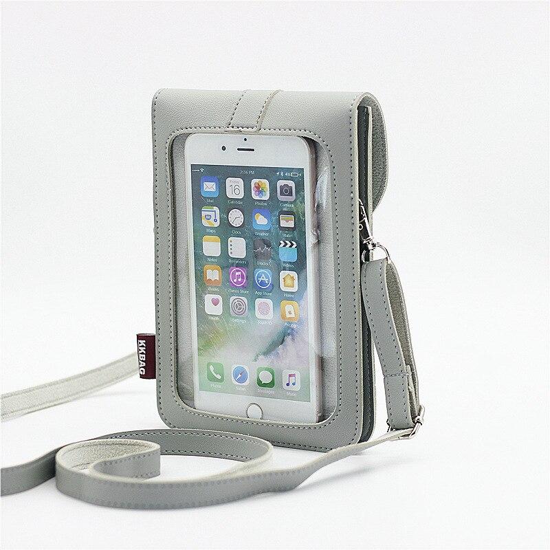 Bolso para teléfono móvil con pantalla táctil, bolsillo de hombro, bolsillo, funda, correa para el cuello, cierre cruzado de piel sintética, estilo de decoración Interior
