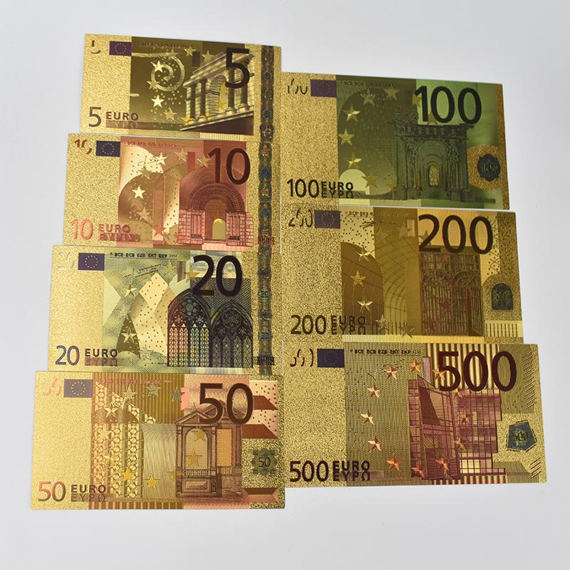 7 Pcs <font><b>Euro</b></font> Gold Foil Art Creativity <font><b>Euro</b></font> <font><b>Banknotes</b></font> Commemorative Notes Decoration 5 10 <font><b>20</b></font> 50 100 200 500 EUR Collection image