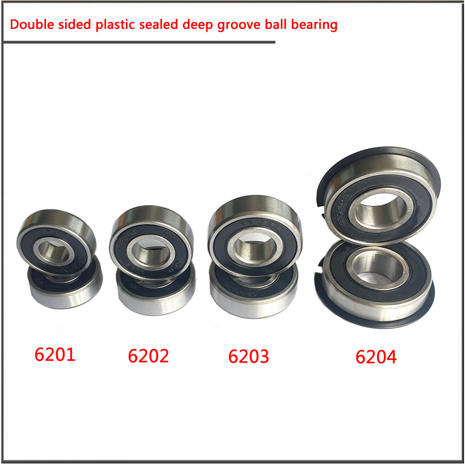 10Pcs/set 6200 6201 6202 6203 6204 6205RS High Speed Double-sided Plastic Sealed Deep Groove Ball Bearing Main Bearing Of Motor