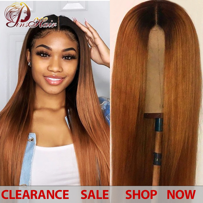 Ombre Blonde Brazilian Straight Hair Lace Front Wigs With Closure 1B/30 Lace Front Human Hair Wigs For Black Women Non-remy Wigs