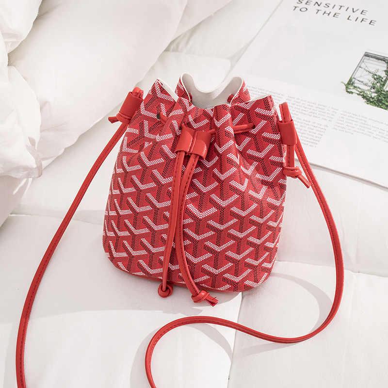2020 nowych moda proste kobiety PU Mini torba na ramię z troczkami panie dziewczyna wiadro Crossbody torba torba na telefon kurierska