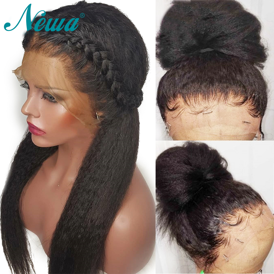 Newa Hair 360 Lace Frontal Wig Pre Plucked Yaki Straight Lace Front Human Hair Wigs For