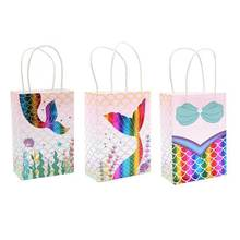 1pc Colorful Mermaid Kraft Paper Bag Kids Birthday Party Decorations Packaging Candy Bag Open Top Packing Paper Treat Gift Bag Wholesale(China)