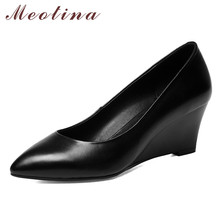 Купить с кэшбэком Meotina High Heels Women Shoes Natural Genuine Leather Wedges High Heel Shoes Cow Leather Pointed Toe Pumps Female Autumn 34-39
