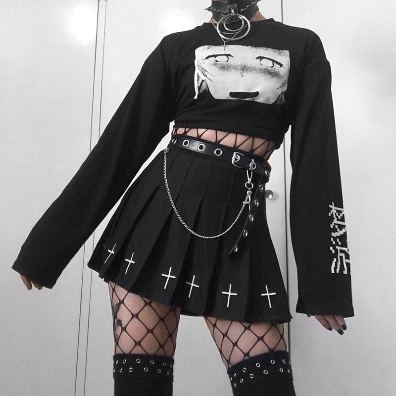 InsGoth Streetwear Punk PU Leather Belts Women Black Fashion Gothic Metal Chain High Waist Bodycon Belts