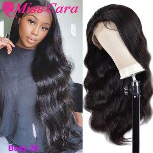 Бразильские волнистые человеческие волосы парики Miss Cara Remy волосы 180% densty кружевные передние человеческие волосы парики с детскими волосами ...