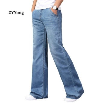 цена на Fashion Mens Boot Cut Jeans Big Flared Boot Cut Leg Flared Trousers Loose Large Size Fit Designer Classic Blue Denim Pants