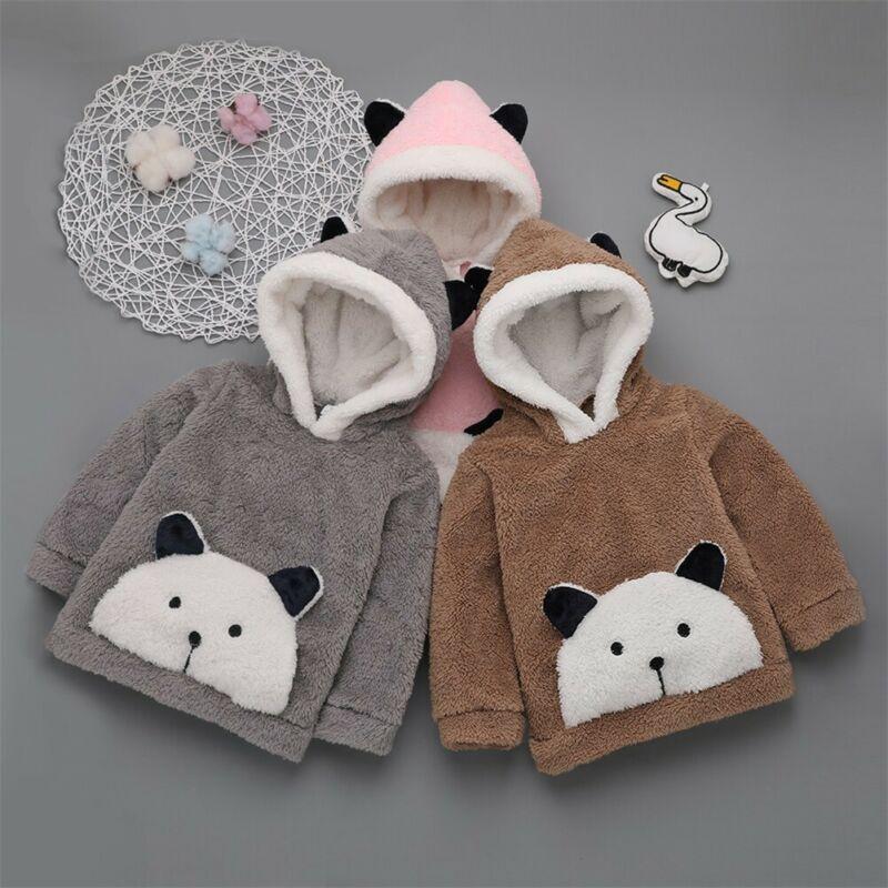 2019 Cute Infant Toddler Baby Boy Girl Hoodies Top Fur Cartoon Print Long Sleeve Pullover Hooded Hoodies Sweatshirt Clothes 2
