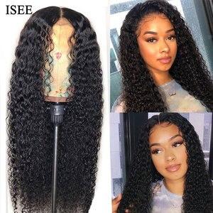 Кудрявые вьющиеся парики для женщин, малайзийские Кружевные Закрытие человеческих волос парики ISEE волосы U часть парики Кудрявые вьющиеся ...
