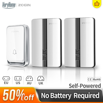 VeryHome self-generating waterproof wireless doorbell receiver battery buttonUS EU UK AU plug home doorbell 150m remote