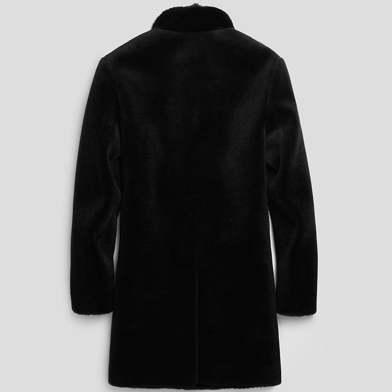 100%Wool Coat Winter Jacket Men Real Shearling Fur Coat Mink Fur Collar Jackets Long Coat Veste Homme LSY080063 MY1132
