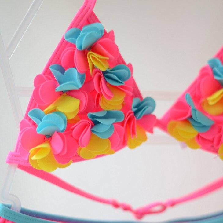 KID'S Swimwear Infants Small Children GIRL'S Cute Floral Stereo Flower Bikini Split Type Swimwear Beach